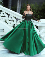 2018 Off the Shoulder Long Sleeve Lace Applique A Line Prom Dresses Elegant Sequins Cheap Prom Gown