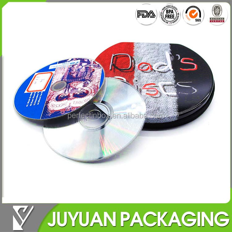 round CD tin can/gift metal tin box for CD/DVD