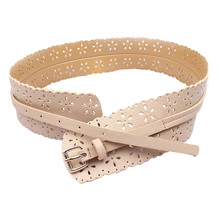 Amazing Womens Fashion PU Leather Lady Hollow Flower Waist Belt Waistband for Women Apparel Accessories