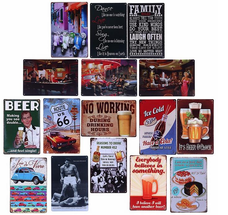 factory direct sale popular retro metal signs vintage tin metal sign craft as wall decoration