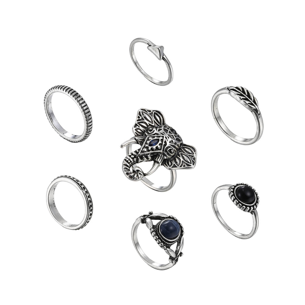 2017 Hot-sales 7 pcs Vintage alloy silver ox plating rings cheap different design elephant stone rings set