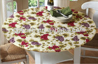 Outdoor Picnic Plastic Vinyl Round Table Cover With Flannel Elastic Edging