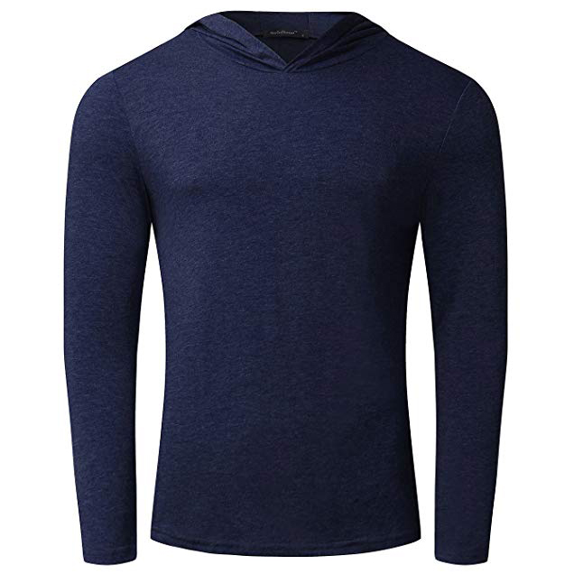Men's  popular Long Sleeve Hoodies Lightweight  solid color Pullover Sweatshirts
