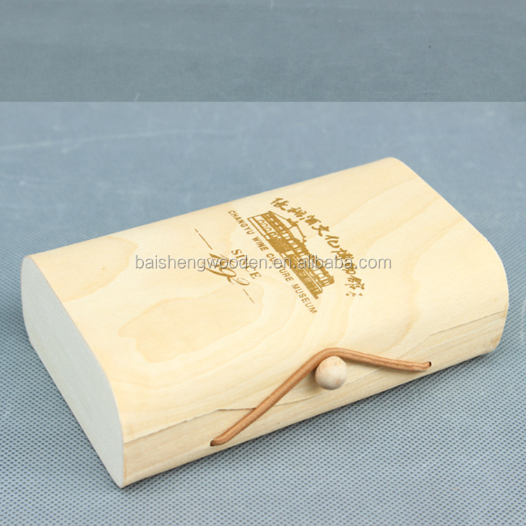 Factory wholesale wood natural color wine box packaging with lid