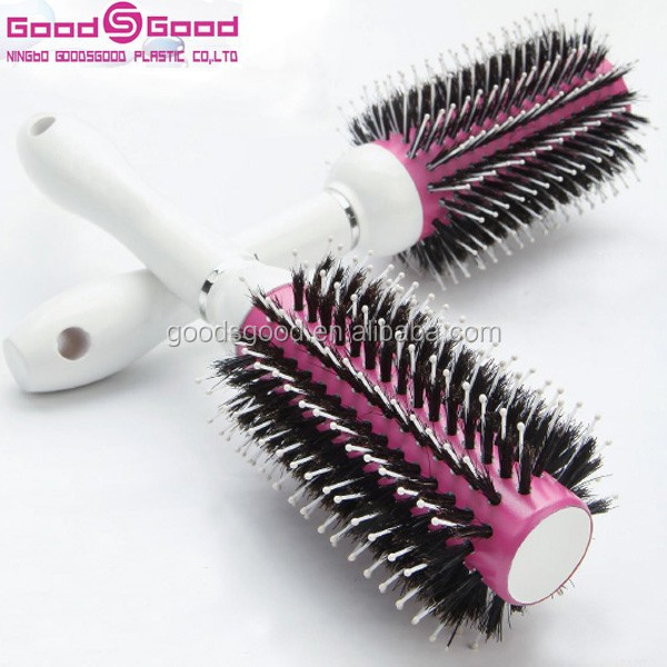 Professional plastic hair brush ceramic coating round hair brush hard boar bristle wholesale hair brush manufacturer