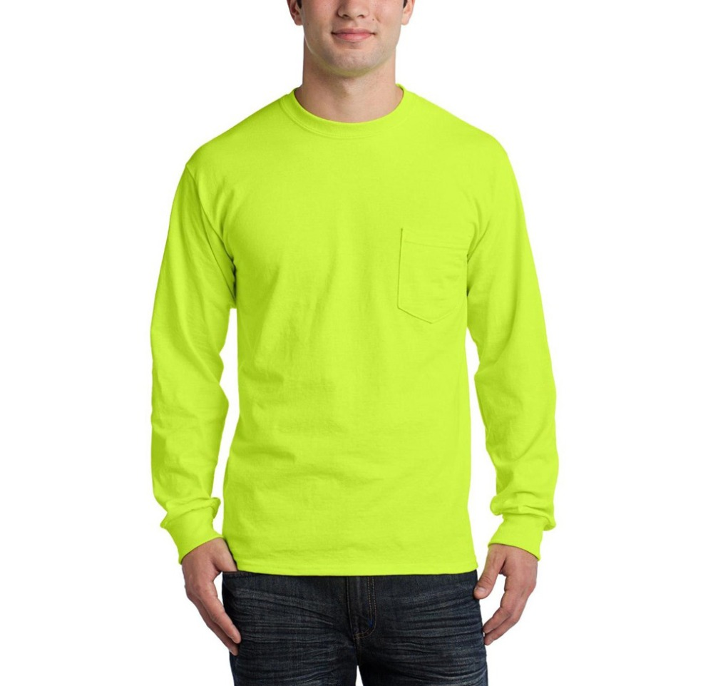 Cotton Long Sleeve T-Shirt with Pocket - Safety Green
