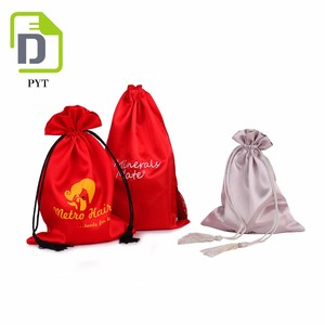 Large custom silk satin hair extension packaging pouch bag