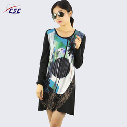 Customized Top Quality Round Neck ladies Digital Print maxi knit dress