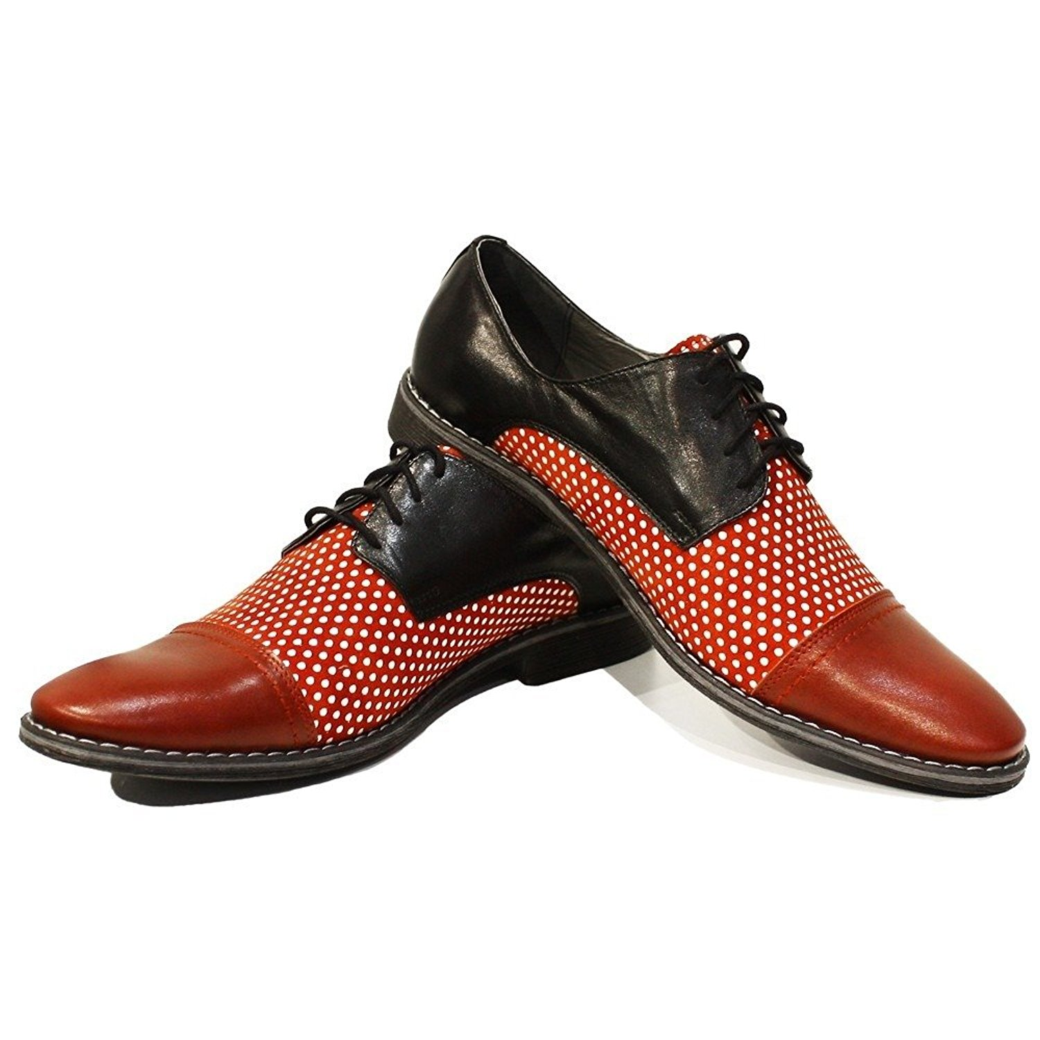 Modello Lukaso - Handmade Italian Mens Red Oxfords Dress Shoes - Cowhide Smooth Leather - Lace-up