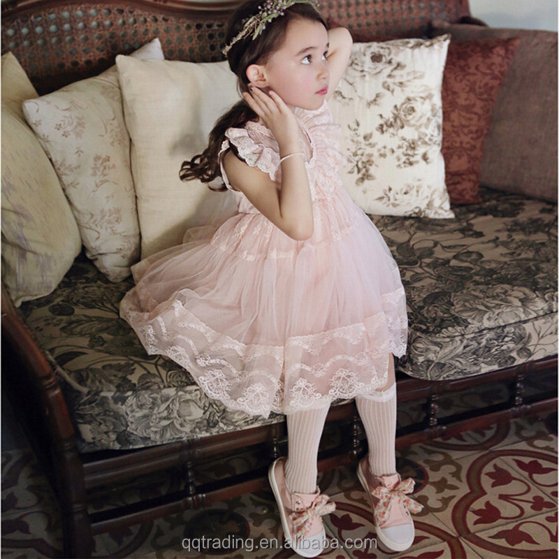 2018 Summer best selling sleeveless little princess lace baby girl fairy floral dress for baby girl