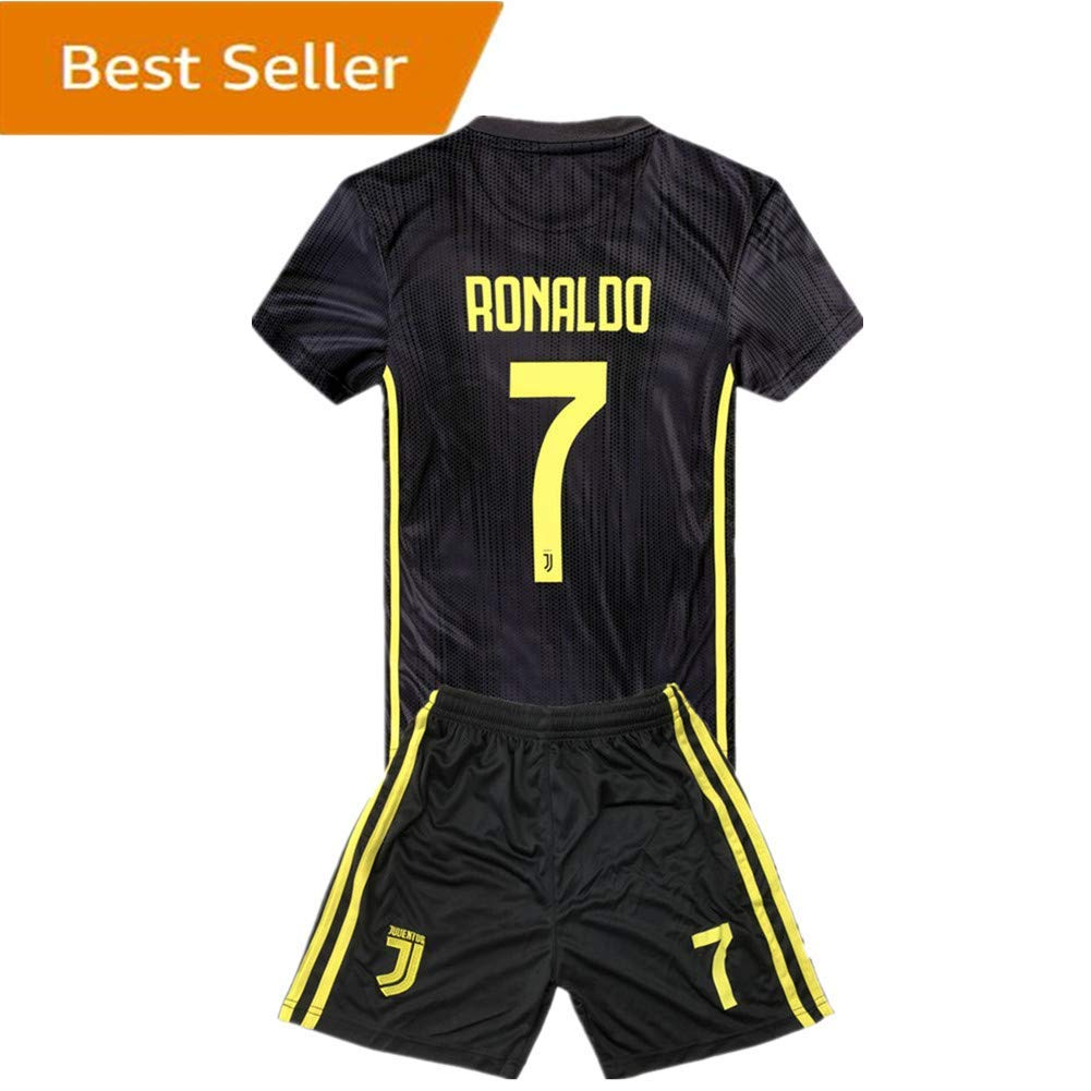 233bbeef8b4 Get Quotations · SUIROSE  7 Ronaldo Juventus Kids Youth Away Boys Soccer  Jersey   Shorts 18-