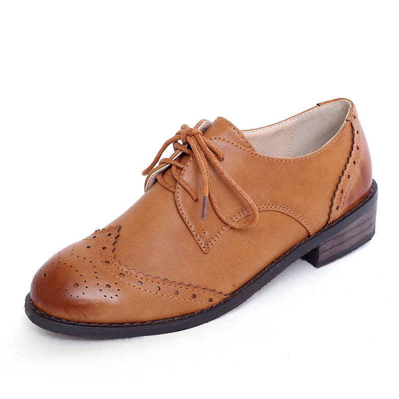 New 2015 Zapatos Oxford Women Shoes Flat Heel British Style Female Brogue Oxford Shoes Woman Casual Shoes
