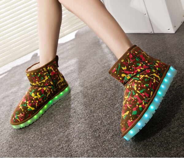 2015Hot sale led light shoes/ winter fur boot/ankle snow boots for women and kid