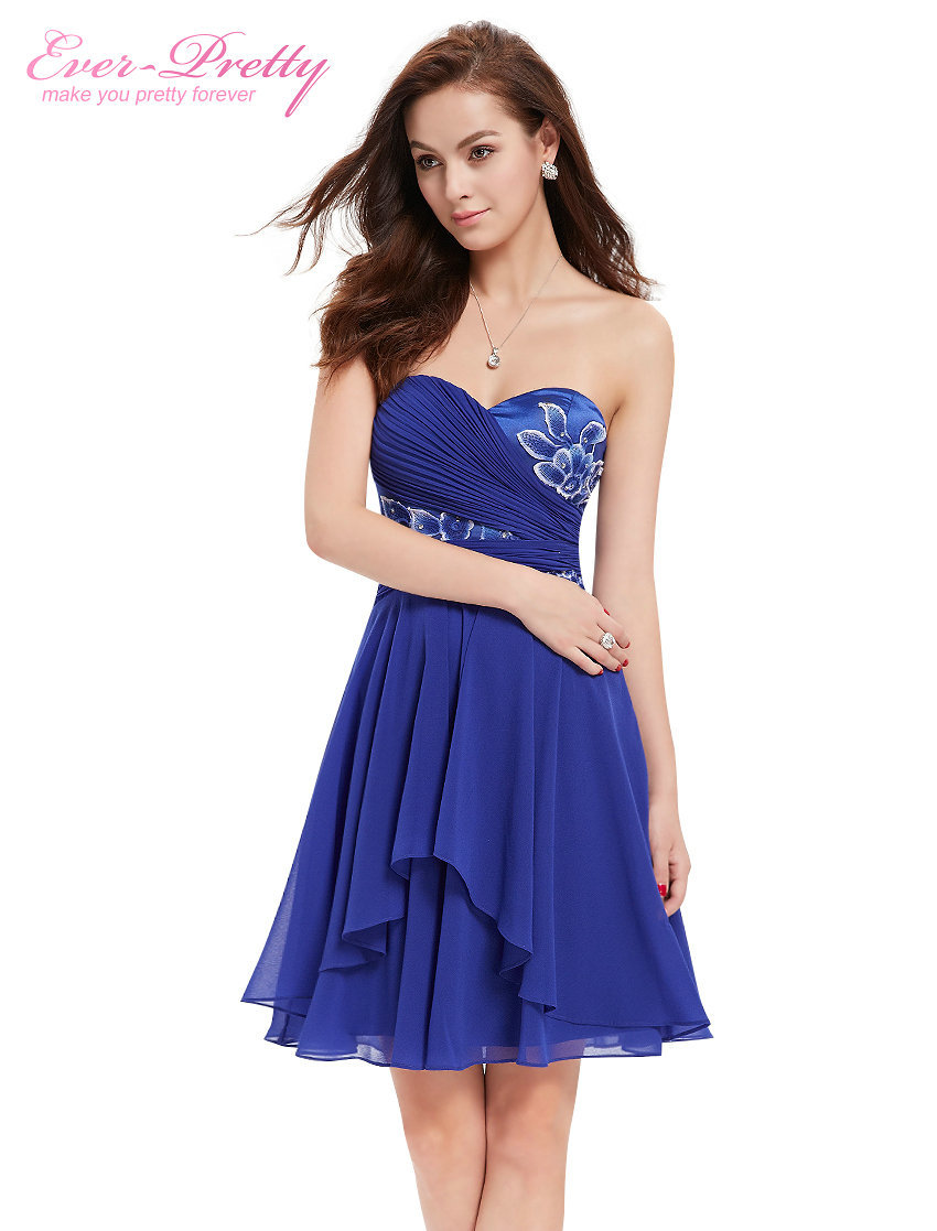 2488e97ac5f3f Cocktail Party Dress Free Shipping 03969 Ever-Pretty Sapphire Blue  Strapless Lace Applique Ruched Short Cocktail Party Dress