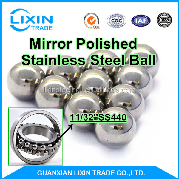 SS304 11 / 32 '' 8.731mm Mirrror Polished Stainless Steel Jewelry Beads