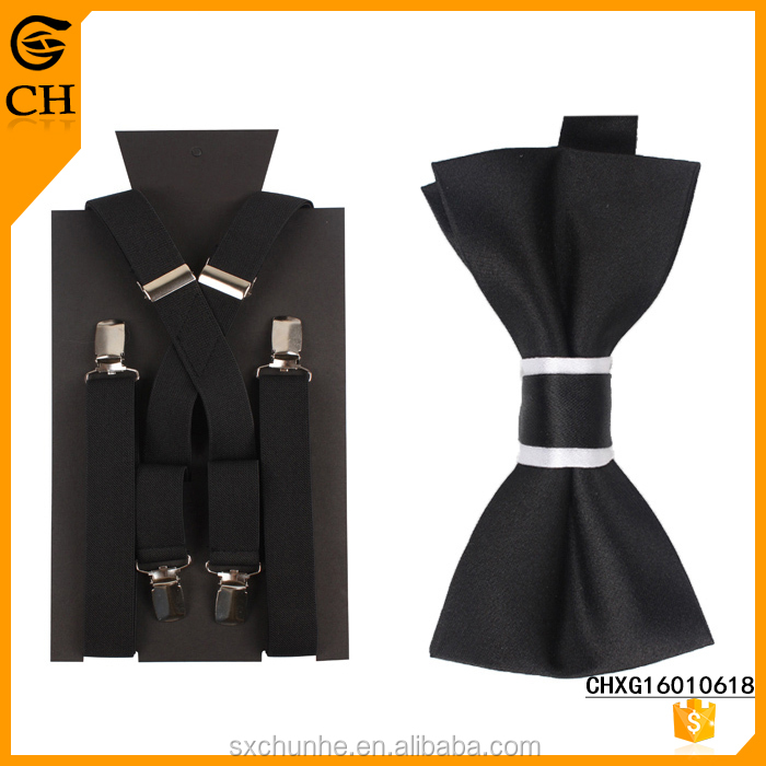 2017 Latest Design New Product Plain Black Fashion Suspender And Bow Tie