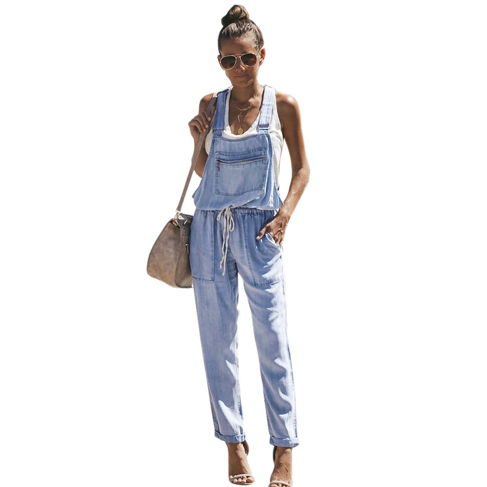 2019 Blue Denim Easygoing Drawstring Overalls Jeans
