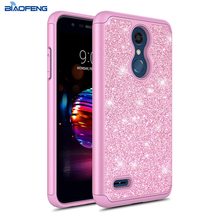 Fashion Glitter Dual Layer Diamond Hibrida Phone Case untuk LG Harmony K10 2019 Case Produk Baru