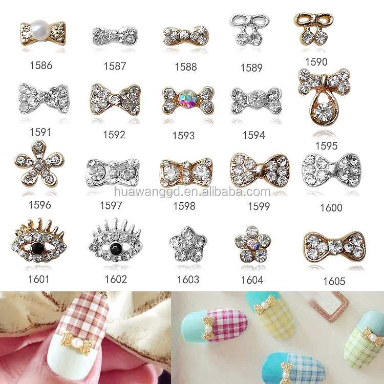 Hot selling nail charm /bow 3d metal nail arts design/rhinestone 3d nail art decoration product