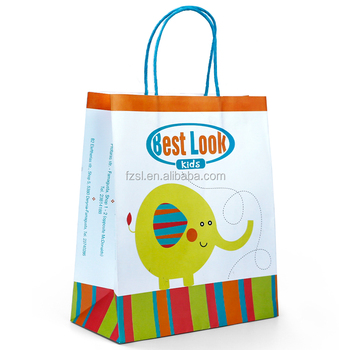 WKP-03  china factory directly supply custom design logo colorful printing cartoon kraft paper bags