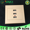 New design gold color thin panel 12v usb power socket 3 usb charger