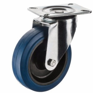 European Style Industrial Blue Elastic Rubber Wheel Caster With Nylon Center
