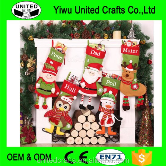 Personalized name 3D Christmas stockings holiday decoration gift collection bag