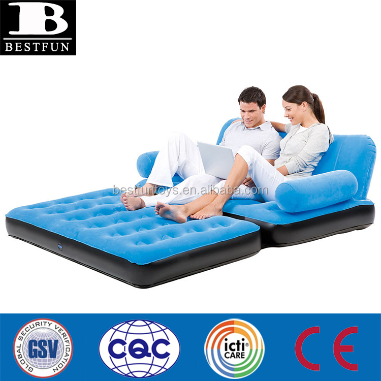 Inflatable Double Sofa Air Bed Couch Blow Up Furniture with Pump Flocking pull out chair bed