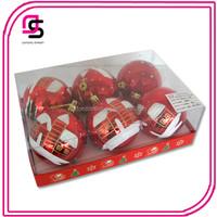 Plastic Christmas ball ,Christmas tree ball,Christmas hang-painted ball 6/S Red painted white ball