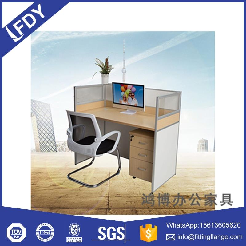 l shaped office desk work station with glass material partition design