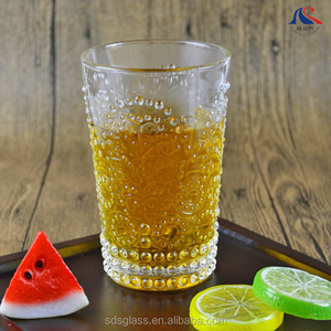 13oz Embossed Drinking Glass Tumbler
