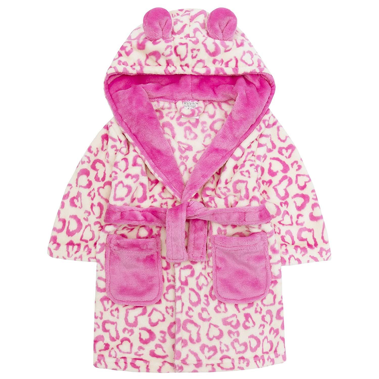 57a3b2a2fa Get Quotations · Minikidz Infant Girls Leopard Print Dressing Gown -  Flannel Fleece Hooded Robe