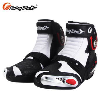 Top Quality White Sportbike Footwear Racing Riding Mens Short Bike Motorcycle Boots