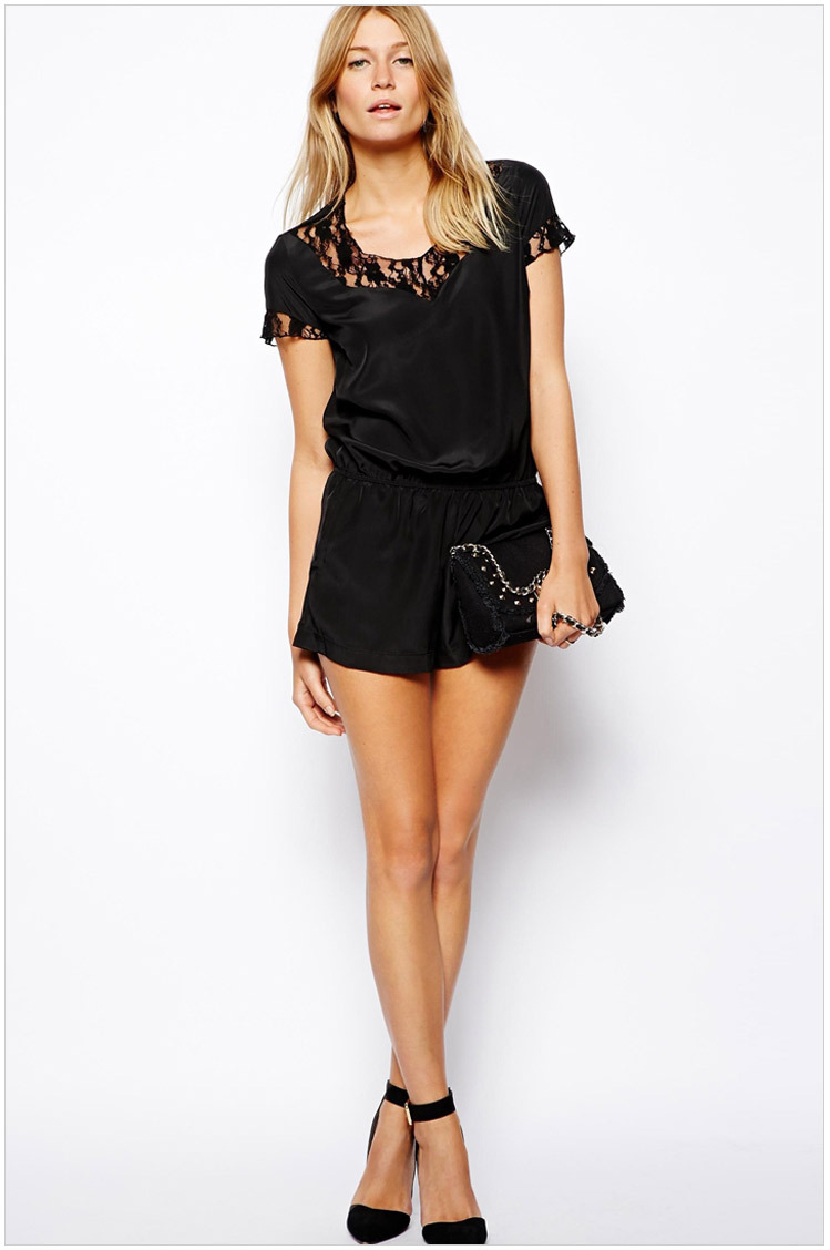 4228deac72f5 2015 summer jumpsuit shorts sexy casual Lace black Loose Casual Playsuit  Party Short Jumpsuit Short sleeve
