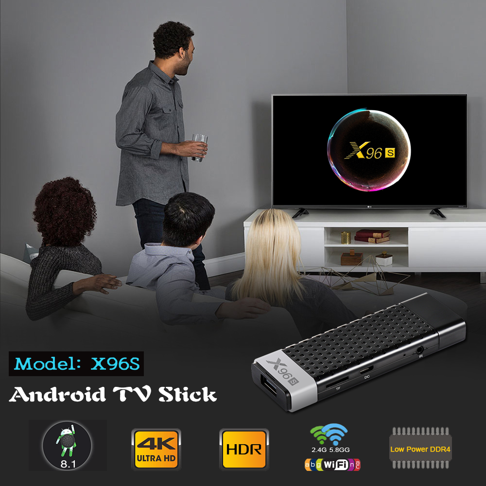 2019  Latest OS amlogic S905Y2 4/32gb smart tv box stick Android 8.1 tv stick quad core tv dongle box mini pc X96S