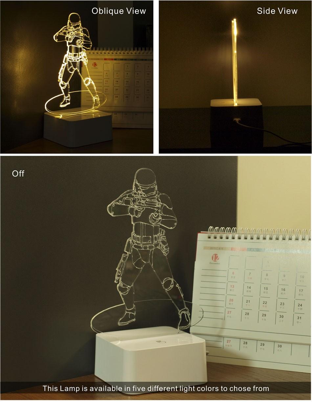 Luz de Noche Led for Star War Fans Imperial Stormtrooper 3D Lamp as Home Decor Bedroom USB Nightlight  (2)