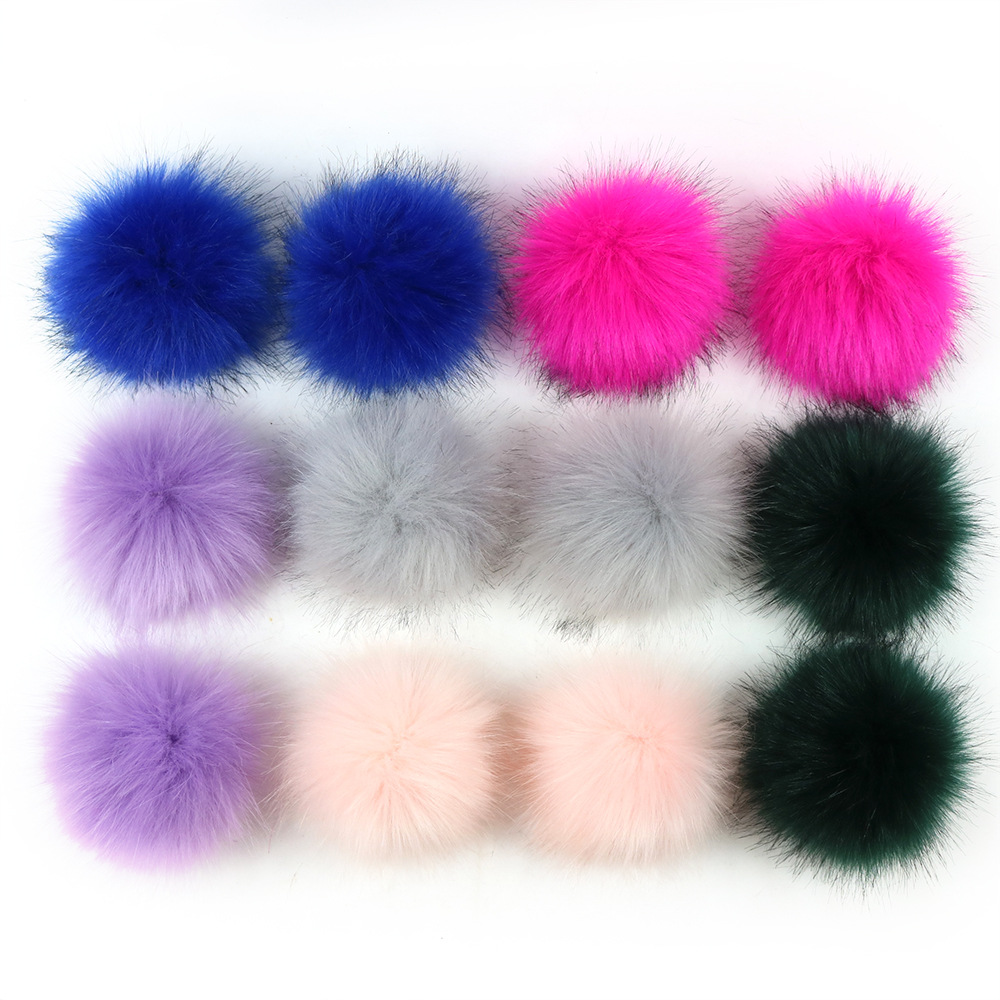 2020 12cm wholesale a dozen group Factory wholesale faux <strong>fox</strong> <strong>fox</strong> <strong>fur</strong> pompom or raccoon <strong>fur</strong> pom pom <strong>ball</strong> with snap