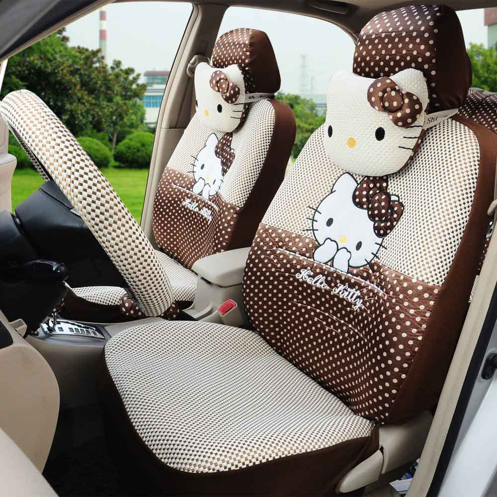 Hello kitty 18 cartoon car seats covers beige leopard - Car seat covers for tan interior ...