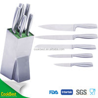 Cookbest good quality 5pcs stainless steel knife kitchen knife set with steel stand