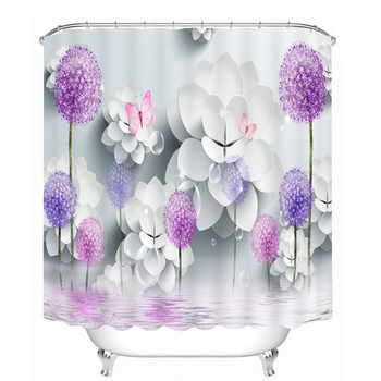Hot Designs Of Japanese Style Flower Background Photo Romantic 3D Printing Polyester Fabric Shower Curtain