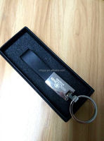 Craft black make leather key chain with box