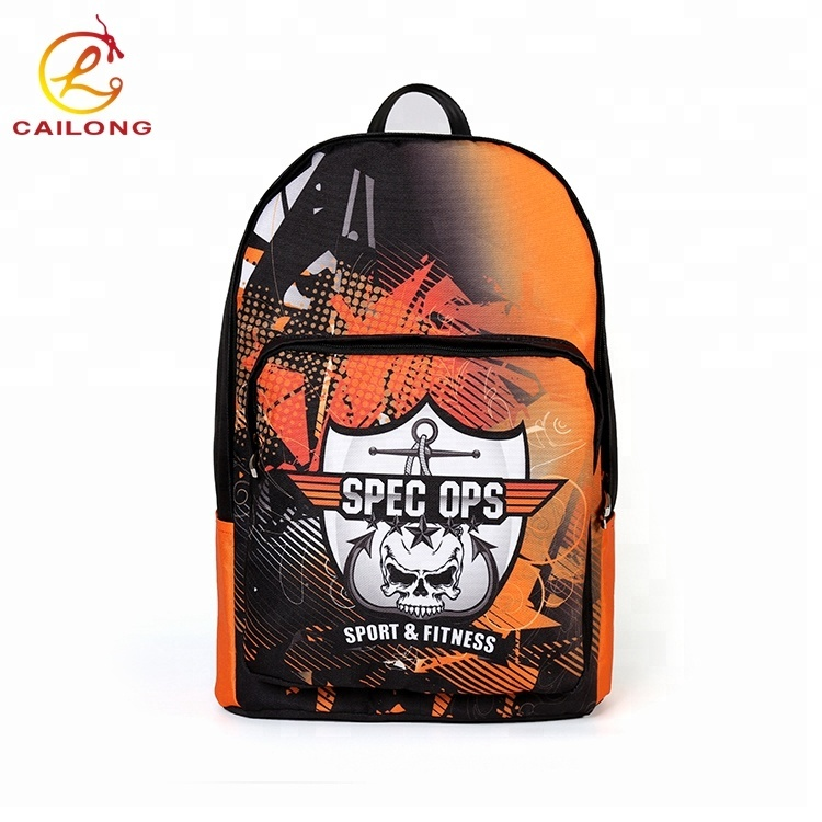Durable 600D polyester custom logo team club outdoor laptop school backpack bag