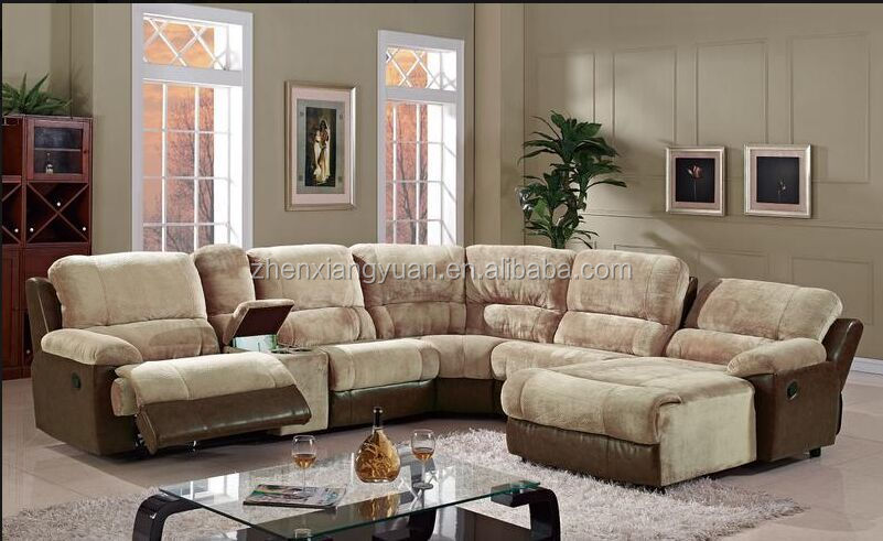 U Shape Leather Sectional Recliner Sofa With Chaise