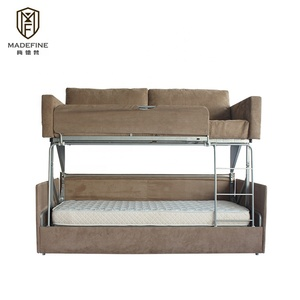 OEM living room furniture foldable metal sofa bunk bed couch modern designs sofa bed double mechanism folding sofa cum bunk bed
