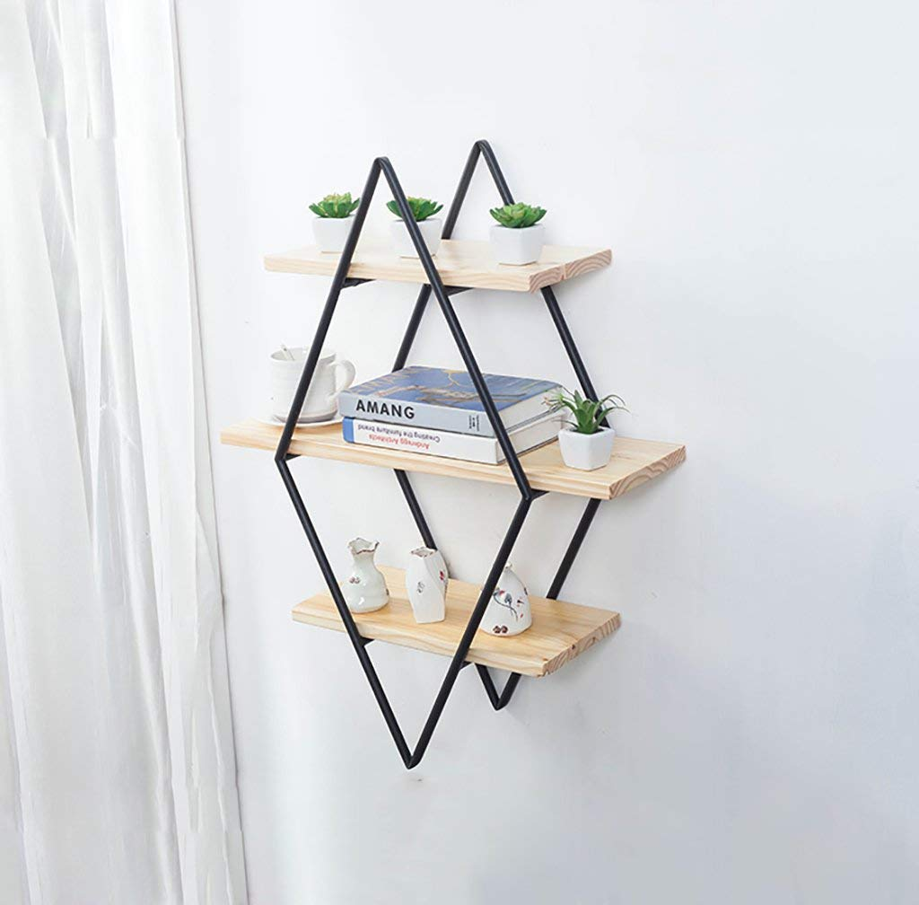 Gspsgj Nordic Solid Wood Wall-Mounted Racks, Wrought-Iron Wall clapboards, Wall hangings, Background Wall Shelves