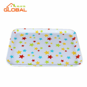 Custom printed rectangular hard plastic tray, melamine food drink serving trays