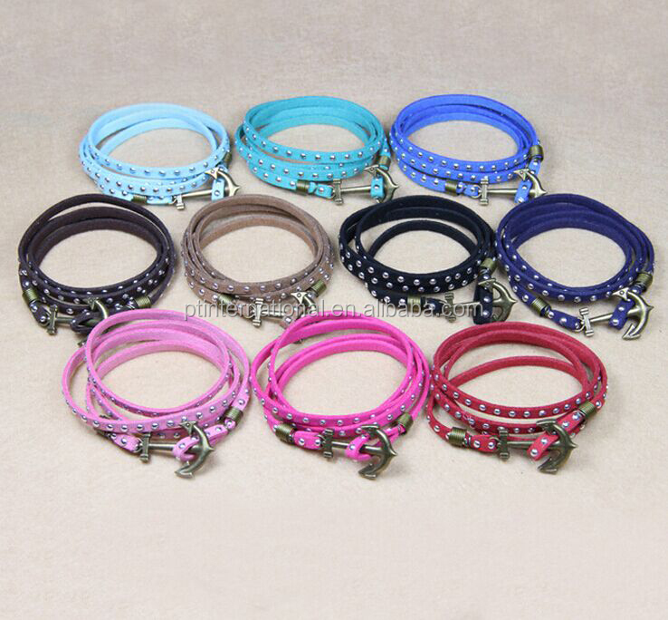 Fashion Bracelet, Rivet Leather Charm Bracelet, DIY Anchor Bracelet Jewelry 510282