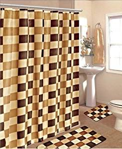 BATHROOM BATH MAT SET RUG CARPET FABRIC SHOWER CURTAIN HOOKS STYLE CHECKER COLOR BROWN CHECKER