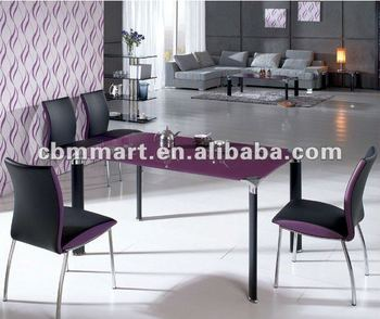 Purple Dining Table Set With Glass Top Dining Set