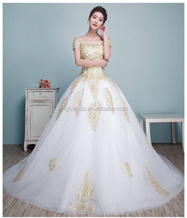 Stunning Boat Neck Gold Lace Special Bridal Wedding Dress Ow8017